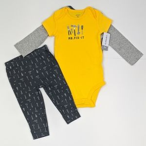 Carter's 9 Months 2 Bodysuits & Pants Yellow Gray